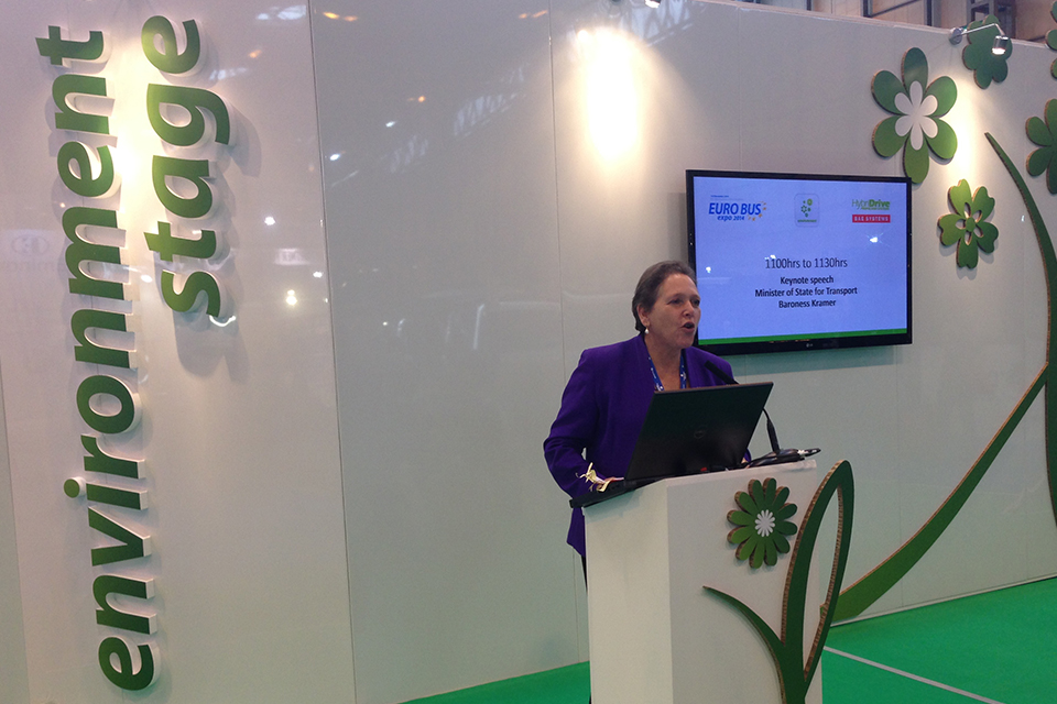 Baroness Kramer speaking at the Euro Bus Expo 2014.