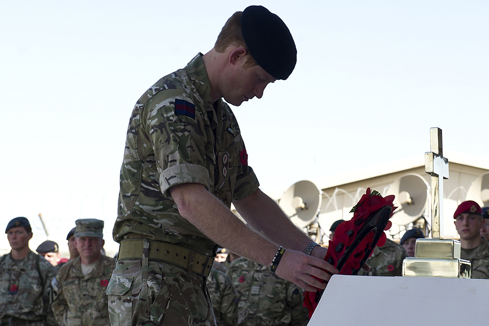 Prince Harry lays a wreath on Remembrance Sunday in Kandahar