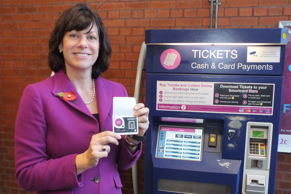 Clare Perry showing her smart ticket.