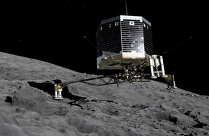 Artist's impression of Philae, touching down on comet 67P.