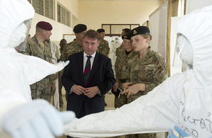 Minister of State for Armed Forces Mark Francois visiting deployed British troops in Sierra Leone