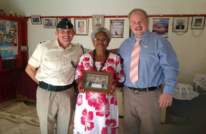 Mrs Naomi Rika with Major (retd) Jim Hall (left) with the Deputy High Commissioner, Daniel Salter
