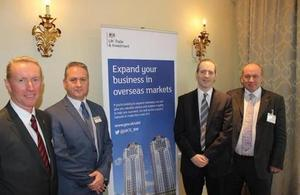 Russell Jones, Regional Director UKTI South West; Ian Girling, CEO Dorset Chamber of Commerce; Lord Livingston; Guy Warrington, UKTI