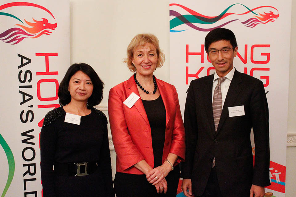 Erica Ng, Director-General at the Hong Kong Economic and Trade Office, London, Andrea Leadsom, Economic Secretary to the Treasury and Vincent Lee, Executive Director (External), Hong Kong Monetary Authority.