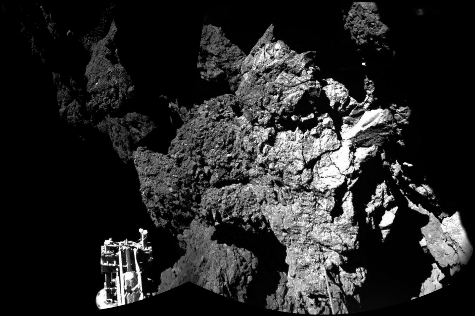 Comet surface pictured by CIVA instrument on Philae lander.
