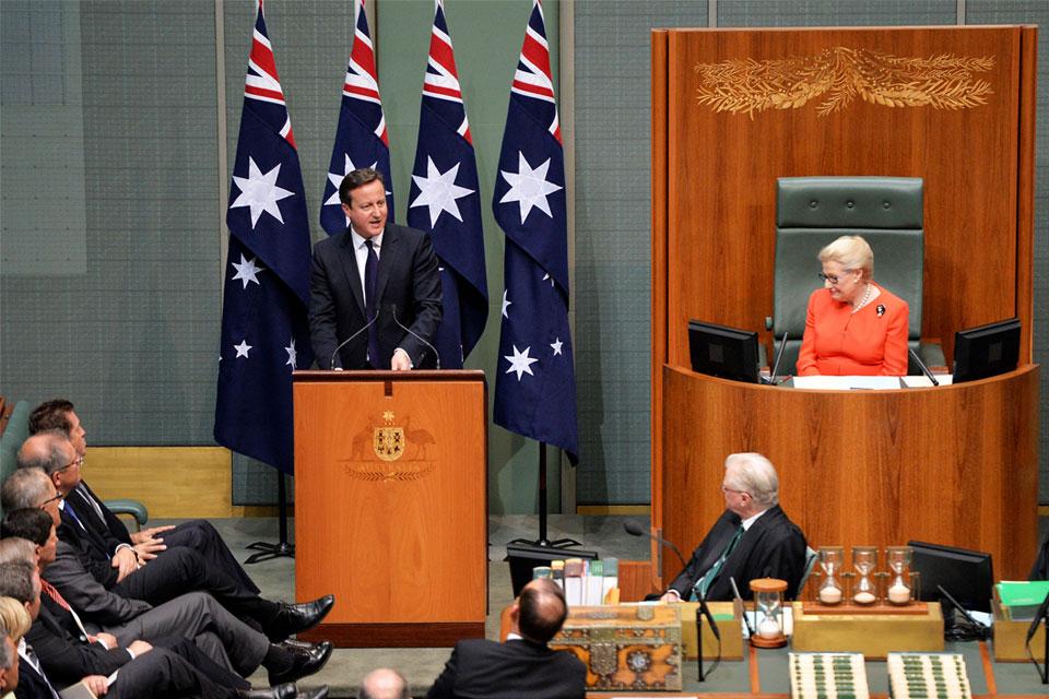 David Cameron addresses the Australian Parliament