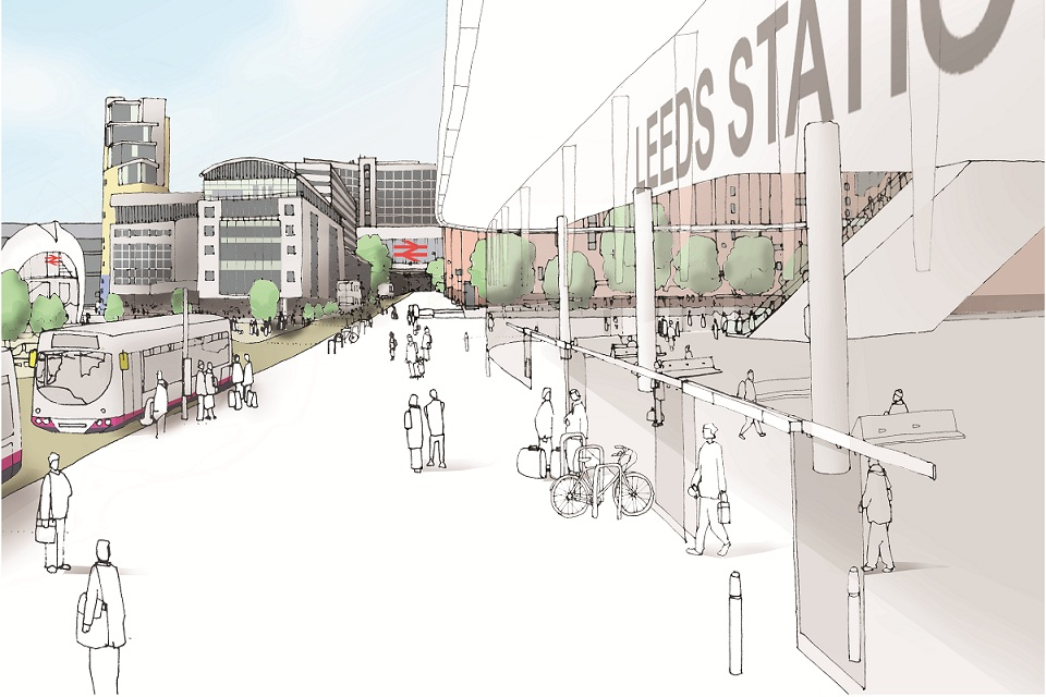 Artistic impression of how the HS2 Leeds New Lane station could look