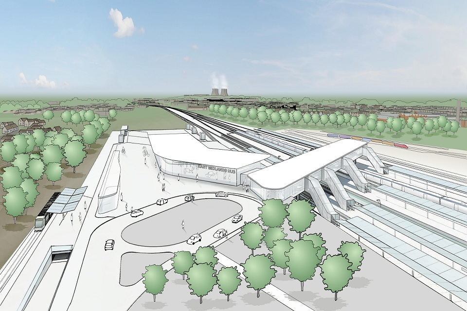 Artistic impression of what the HS2 East Midlands Hub station could look like