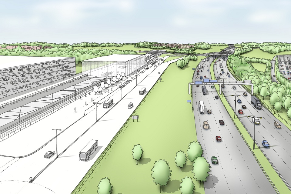 Artistic impression of how the HS2 Manchester Airport High Speed station could look
