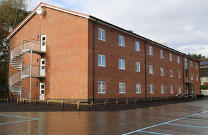 New build single living accommodation at Elizabeth Barracks, Pirbright