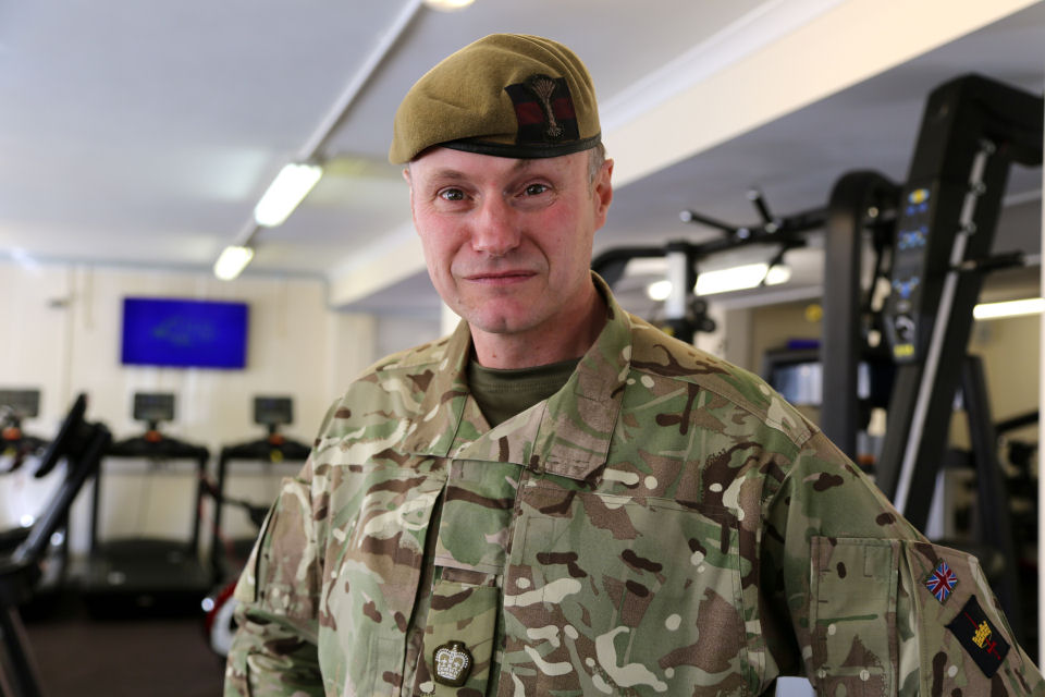 Major Karl Dawson from 1st Battalion the Welsh Guards in the newly refurbished gym at Elizabeth Barracks, Pirbright.