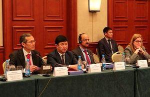 Prime Minister Otorbaev, Minister of Economy Sariev, UNDP Representative Sharma Pradil, and Ambassador Judith Farnworth