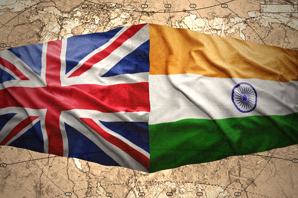 The British and Indian flags