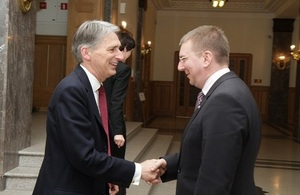 Minister of Foreign Affairs of Latvia Edgars Rinkevics welcomes the Foreign Secretary