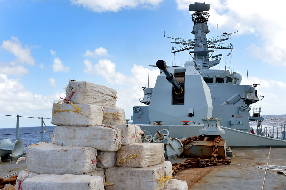 HMS Argyll with 850 Kg of cocaine on board, seized whilst on Counter Narcotics Operations in the Caribbean region.