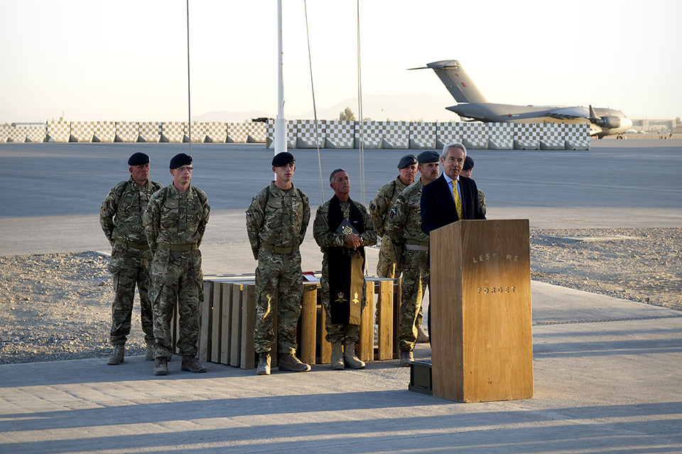 Sir Richard Stagg, British Ambassador to Afghanistan says the final fews words before the lowering of the Union Flag [Picture: Corporal Andrew Morris (RAF), Crown copyright]