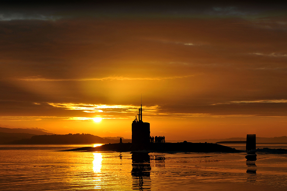 Trafalgar Class submarine HMS Triumph, glides into HM Naval Base Clyde in the early morning sun following a patrol [Picture: LA(Phot) Ben Sutton (RN), Crown copyright]
