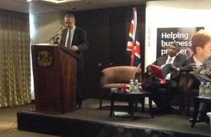 British High Commissioner H E John Rankin speaks at the event.