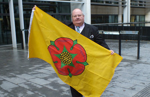 Eric Pickles and the Lancashire flag.