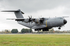 The first Royal Air Force A400M Atlas arrives at RAF Brize Norton [Picture: Paul Crouch, Crown copyright]