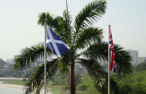 The Saltire and Union Jack flags flying alongside each other