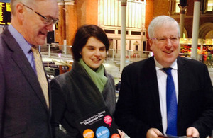 Patrick McLoughlin at Liverpool Street Station