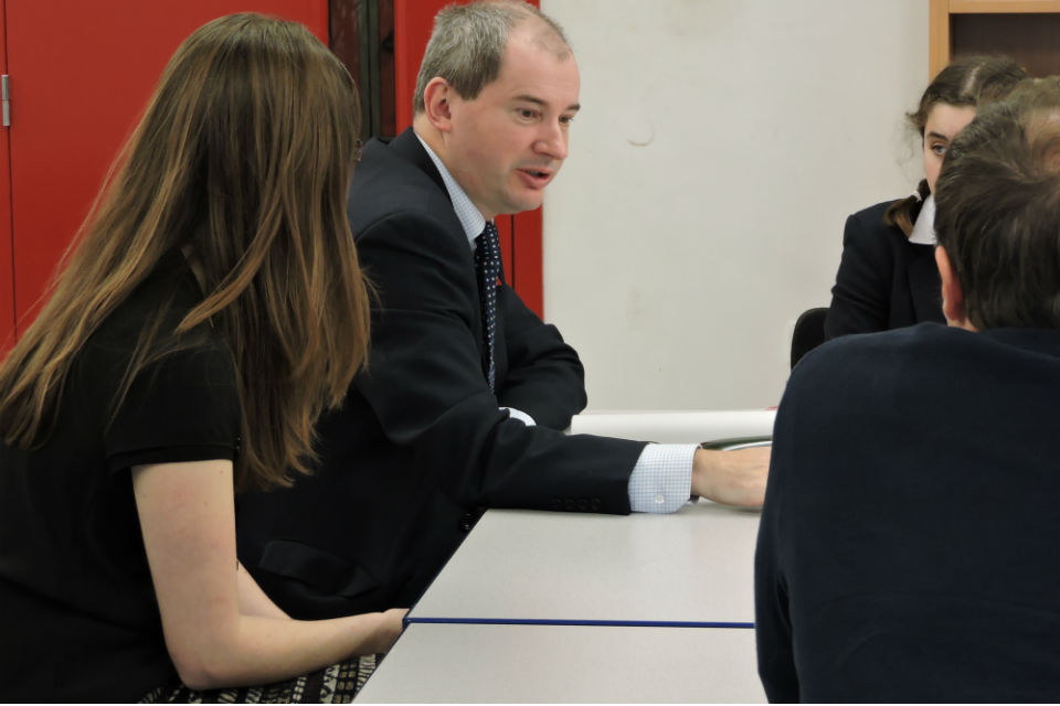 Stephen Williams with pupils at Redland Green School