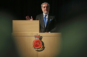 Chief Executive Officer of Afghanistan Abdullah Abdullah addresses Afghan cadets at the Royal Military Academy Sandhurst [Picture: Dan Kitwood/Getty Images]