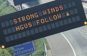 Strong winds Variable Message Sign
