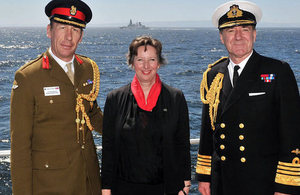 Ambassador Fiona Clouder with First Sea Lord, Admiral Sir George Zambellas, and UK's Defence Attaché, Coronel Angus MacLeod.