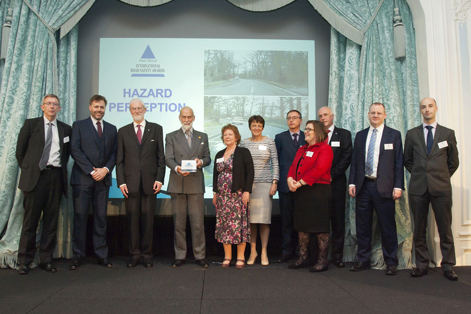Being presented with the International Prince Michael International Road Safety Premier Award