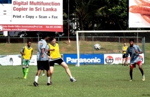 British Deputy High Commissioner Ms. Laura Davies playing football