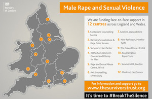 Male rape support centres in England and Wales