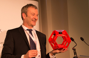 A man from Cybula Ltd – winners of the best pitch of their group at the event – showcasing the Cool Computer