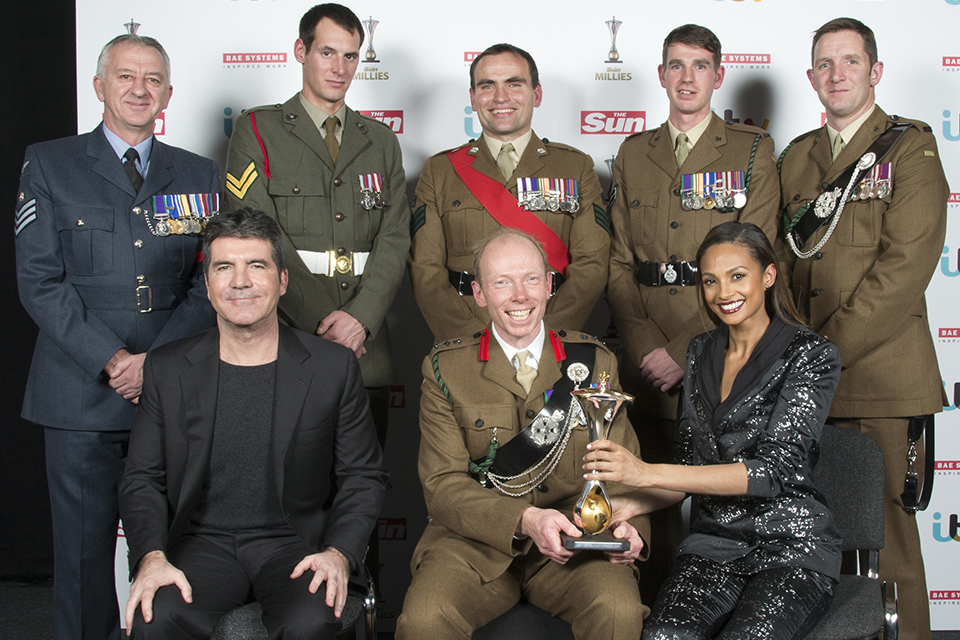 Military personnel with Simon Cowell and Alesha Dixon
