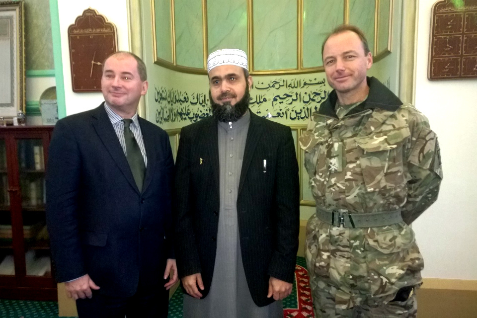 Stephen Williams with Imam and Major General Stuart Richard Skeates