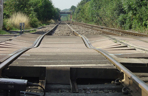 Image of derailment site at Stoke Lane level crossing