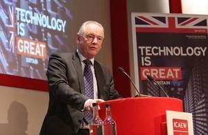 Francis Maude speaking at the cyber security event.