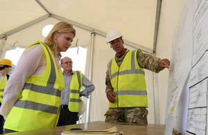Justine Greening on a previous visit to Sierra Leone when she saw the construction of Kerry Town Ebola treatment centre. Picture: Staff Sergeant Tom Robinson RLC/MOD
