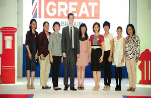 United Kingdom Trade & Investment (UKTI) Director Iain Mansfield and SM SVP for Marketing Millie Dizon with some of the winners of the GREAT British Shopping Contest.