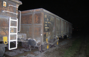 Image of derailed wagon