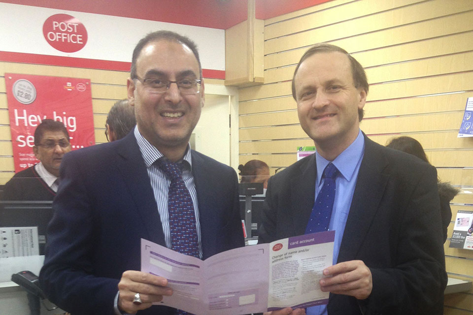 Steve Webb Minister of State for Pensions and Mohmud Ladak, SubPostmaster