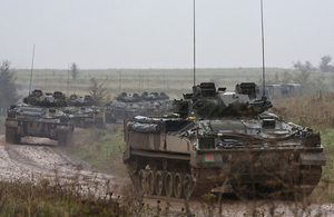 Warrior infantry fighting vehicles during an exercise (library image) [Picture: Petty Officer Airman (Photographer) Terry Seward, Crown copyright]