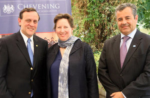 Ambassador Fiona Clouder with Dr. Ignacio Sánchez, president of Universidad Católica and Eduardo Lagos, co-chairman of the Chevening Scholars Alumni Association.