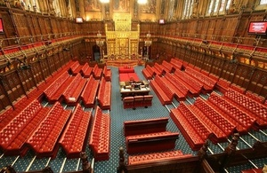 House of Lords chamber. Used under Parliamentary Copyright.