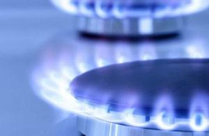 Hobs burning propane gas with a blue flame