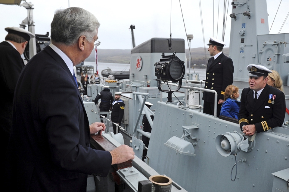 Mr Fallon welcomes home the crew of HMS Grimsby
