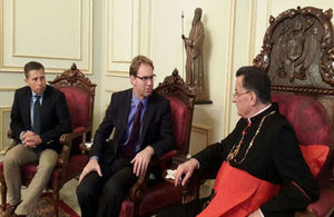 Tobias Ellwood with Patriarch Rai and Ambassador Tom Fletcher