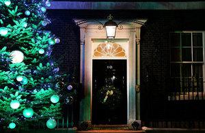 Downing Street door at Christmas