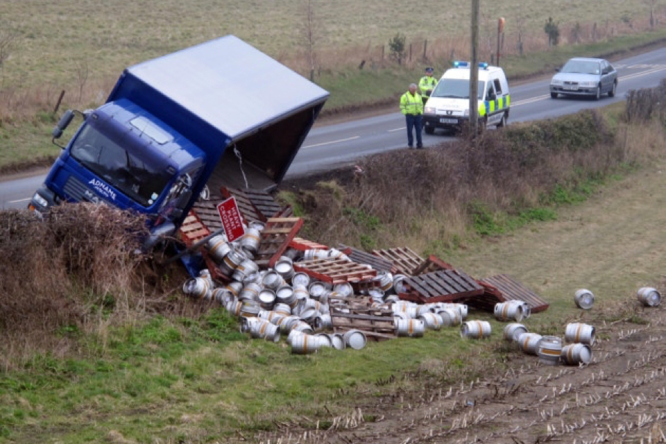Overturned brewery vehicle